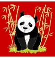 Big cartoon panda on red background with bamboo vector image vector image