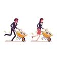 Business people pushing wheelbarrow full of money vector image vector image