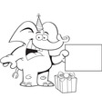Cartoon elephant wearing a party hat with a sign vector image vector image