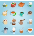 Coffee and tea isometric set vector image vector image