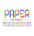 colorful paper style font alphabet and numbers vector image vector image