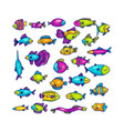 colorful swimming marine fish in set vector image