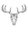 contour a deer skull with antlers with boho vector image