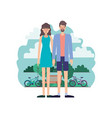 couple characters in park with bicycle vector image vector image