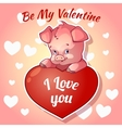 Cute piggy for Valentines Day vector image vector image