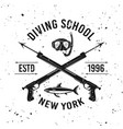 diving school emblem with two spearguns vector image vector image