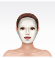 face young girl applying cosmetic facial mask vector image