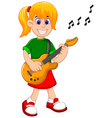 funny girl cartoon playing guitar vector image vector image