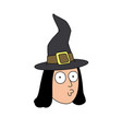 funny witch head in hat flat style merry vector image vector image