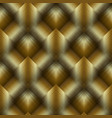 gold 3d striped tiled rhombus seamless pattern vector image