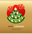 greeting card with christmas tree and gold vector image vector image