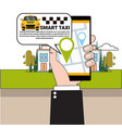 hand holding smart phone ordering taxi car with vector image