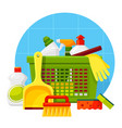household cleaning washing products flat vector image