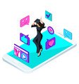 isometric girl graduate jumping is happy academ vector image vector image