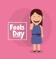 laughing woman funny fools day celebration vector image