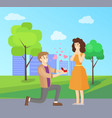 man making proposal to woman vector image
