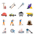 minerals mining flat icons set vector image vector image