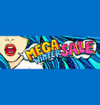 open mouth and mega winter sale message in pop art vector image