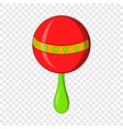 red baby rattle icon cartoon style vector image