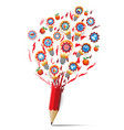 red pencil with splash bulb icons education vector image vector image