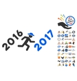 Run To 2017 Year Icon With 2017 Year Bonus Symbols vector image