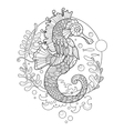 sea horse coloring book for adults vector image vector image