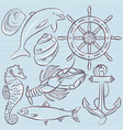 set of summer symbols ship rudderanchor vector image vector image