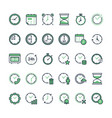 set time related line icons vector image