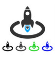 space rocket launch area flat icon vector image vector image