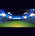 sport stadium with lights and tribunes background vector image