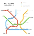 Subway map template City metro vector image vector image