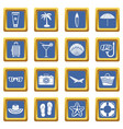 summer rest icons set blue vector image vector image