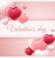 valentines day background with red pink hearts vector image
