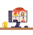 video conference people image on computer screen vector image vector image
