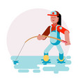 woman standing with fishing rod vector image