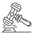 wood judge hammer icon outline style vector image