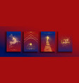 year gold glitter reindeer card set vector image vector image