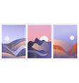 abstract blue waves gradient landscape set vector image vector image