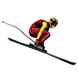 alpine skier athlete skiing downhill black vector image