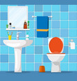 bathroom interior with toilet bowl vector image