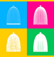 bird cage sign four styles of icon on four color vector image