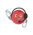 bowling ball character cartoon with headphone vector image vector image