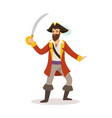 brave pirate sailor character with sabre vector image vector image