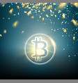 bright bitcoin symbol and golden confetti falls vector image