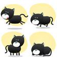 cartoon black cat set vector image