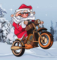 cartoon funny santa claus on a motorcycle vector image vector image
