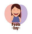 cartoon laughing woman pointing gesture fools day vector image