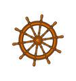 cartoon ship sailboat steering wheel vector image vector image