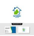 cat house logo template free business card vector image vector image
