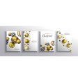 christmas new year gold 3d bauble ball card set vector image vector image
